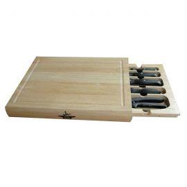 Tabla para cortar con cajón y cuchillos incorporados