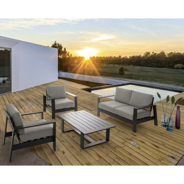 Conjunto Atlantic sofá + 2 butacas + mesa, color blanco