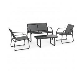 Conjunto Axten banco + 2 sillones + mesa, color visón