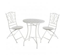Conjunto Iron Mosaic mesa + 2 sillas