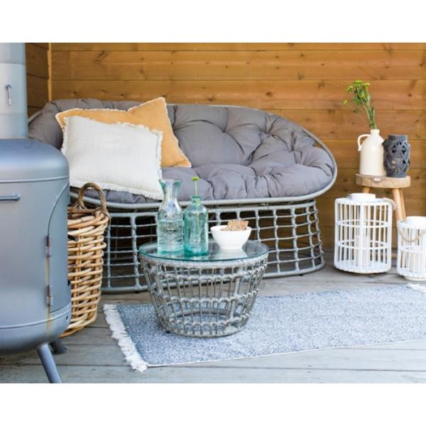 Sófa de exterior Iron Wicker Lounge Bench