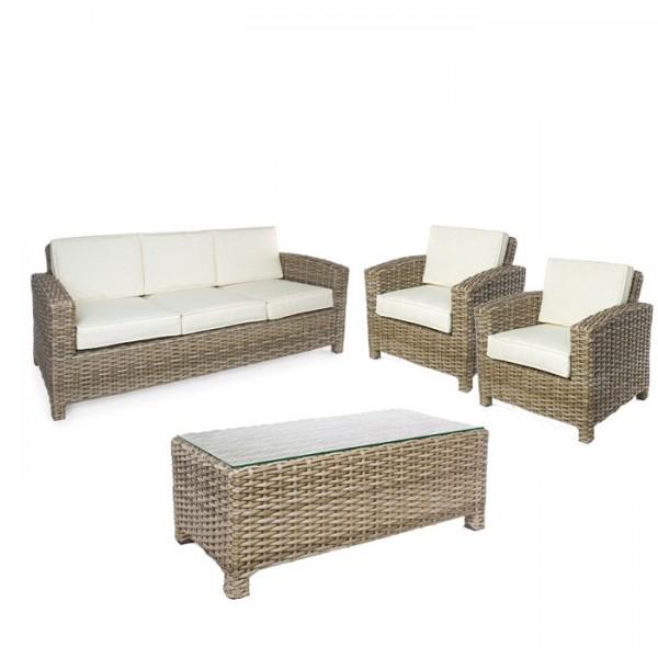 Conjunto Lesly sofá + 2 butacas + mesa