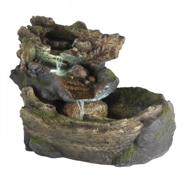 Fuente rocosa Torrent con iluminación LED