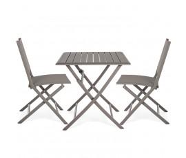 Conjunto Elin mesa 70x70 + 2 sillas, color choco